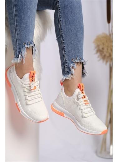 Oksit Axs Jessamy Renk Detaylı Fileli Kalın Taban Kadın Sneaker Beyaz